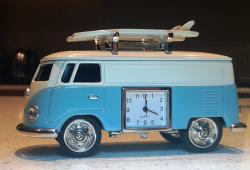 VW Kombi blue Hippy Van with surfboards and clock
