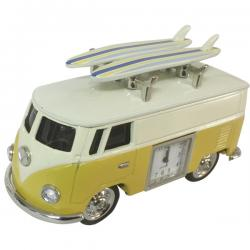 VW Kombi Yellow Hippy Van with surfboards and clock