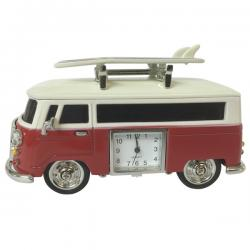 VW Kombi Red Hippy Van with surfboards and clock