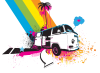 Rainbow VW Kombi Design - Men and Women's 'Gildan' Slim T-Shirt