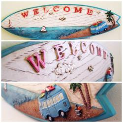 RETRO VW KOMBI SURFBOARD WELCOME SIGN