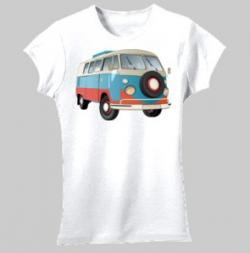 VW Kombi Camper - Women's 'Gildan' Slim T-Shirt