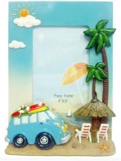 Hippie Van Photo Frame - Blue - Large w Palm Trees