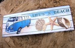 Lifes a Beach VW Kombi Welcome