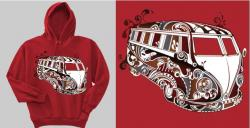 Men and womens Unisex VW Kombi  Psychadelic Hoodie