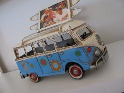VW Kombi Photo Frame with surfboards on the roof