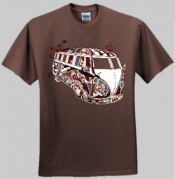 Psychedelic VW Kombi Men and Women's T-shirt