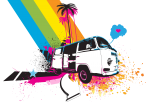 Rainbow VW Kombi Design - Men and Women's 'Gildan' Slim T-Shirt